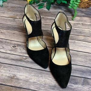 Marc Fisher Black Suede & Snakeskin Heels
